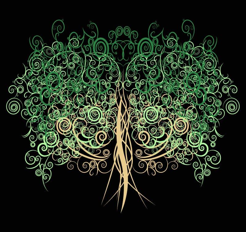 Unikt lockigt träd som göras med många kurvor och elemen stock illustrationer