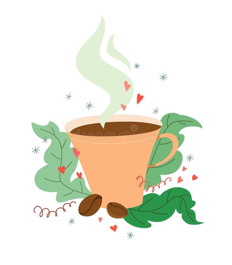 Unikt och gulligt kaffe rånar med kaffebönor i en tecknad filmstil med dekoren stock illustrationer
