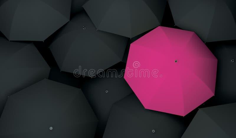 Unikt olikt enkelt för paraply royaltyfri illustrationer