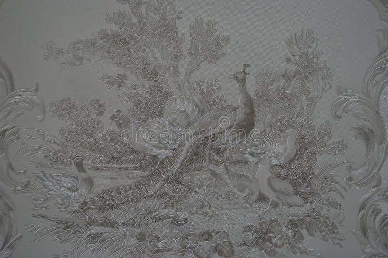 Unikt texturerat retro för tapetpåfågelbakgrund arkivfoton