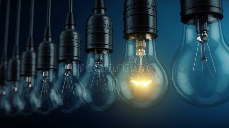 Unikt unikhet, nytt idébegrepp - glödande elektrisk kulalampa i rad av lampor vektor illustrationer