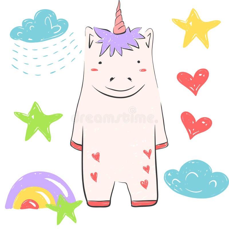 UnIllustration drôle avec l'étoile, arc-en-ciel, clud, pluie, coeur Illustration au sujet des animaux féeriques pour la conceptio illustration libre de droits