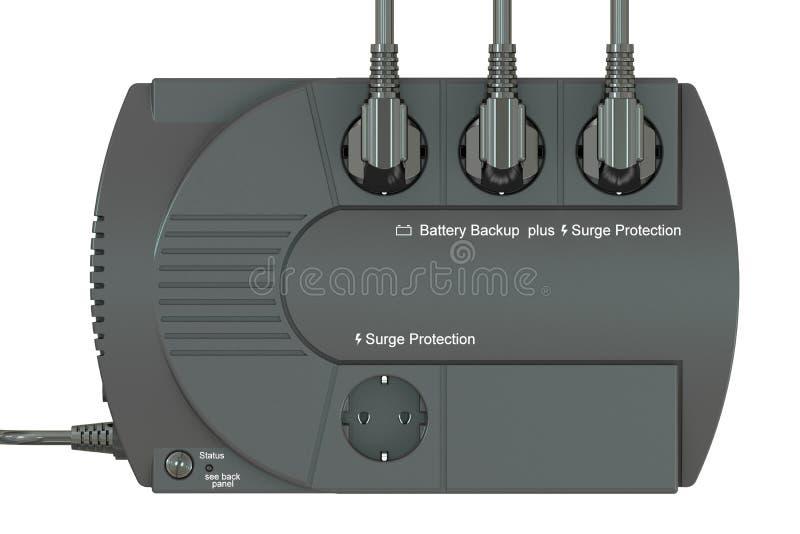 Uninterruptible źródło zasilania, UPS z elektrycznymi prymkami 3 d czynią ilustracji