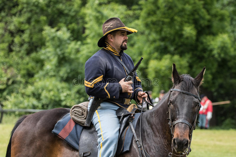Union Army Scout. Civil War era soldiers in battle at the Dog Island reenactment in Red Bluff, California stock photography