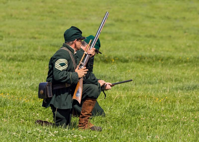 Union Army Sharpshooters of the American Civil War. stock photo