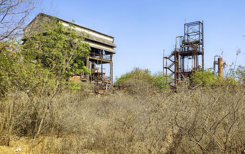 Union Carbide Chemical Plant, Bhopal, India. Abandoned Union Carbide Pesticide Factory, Bhopal, India royalty free stock images