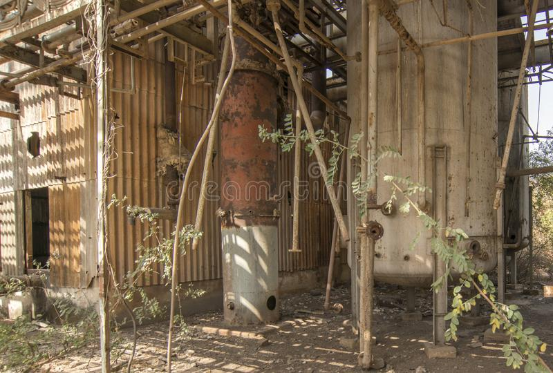 Union Carbide Chemical Plant, Bhopal, India. Abandoned Union Carbide Pesticide Factory, Bhopal, India stock photo
