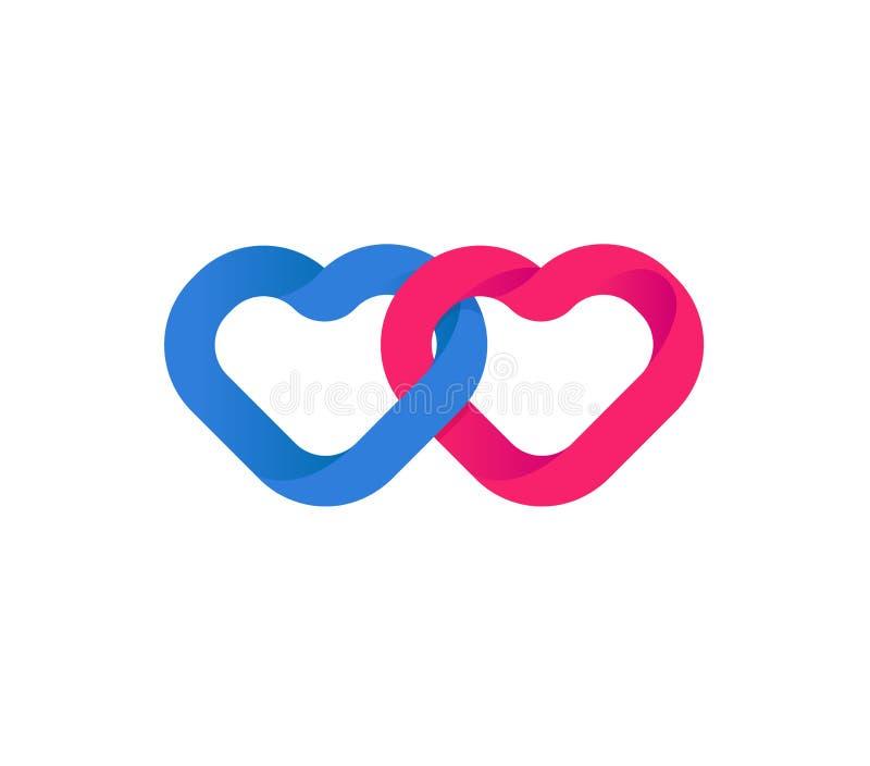 Union de coeurs, unification des coeurs Coeurs rouges et bleus affectueux Aimez le symbole et le bonheur d'un couple dans l'amour illustration libre de droits