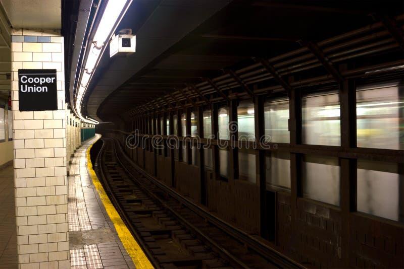 Union de tonnelier et station de métro de place d'Astor, NYC image stock