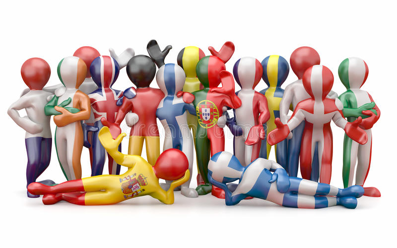 Union européenne. Les gens en couleurs d'indicateur national. illustration stock