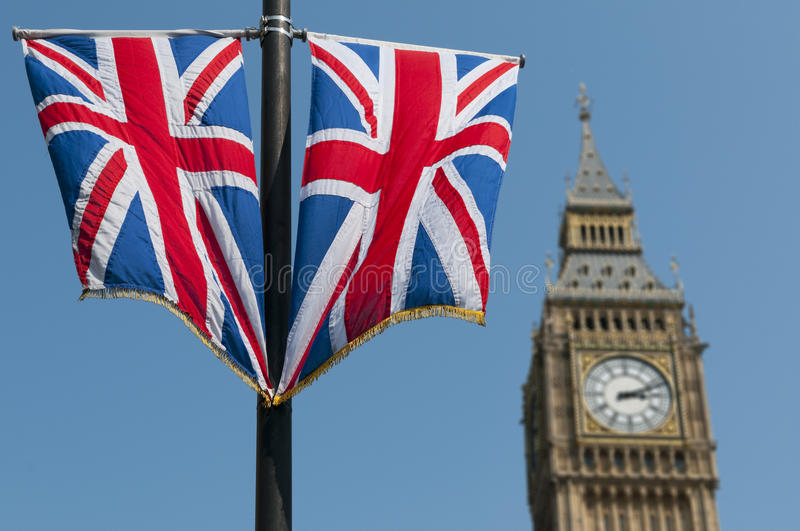 Download Union Flags and Big Ben stock image. Image of sunny, parliament - 20606383