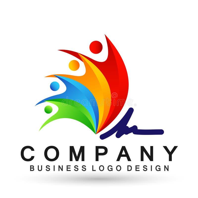 Union heureuse, amour et soin de famille heureux dans un battement de coeur avec le logo de forme illustration stock