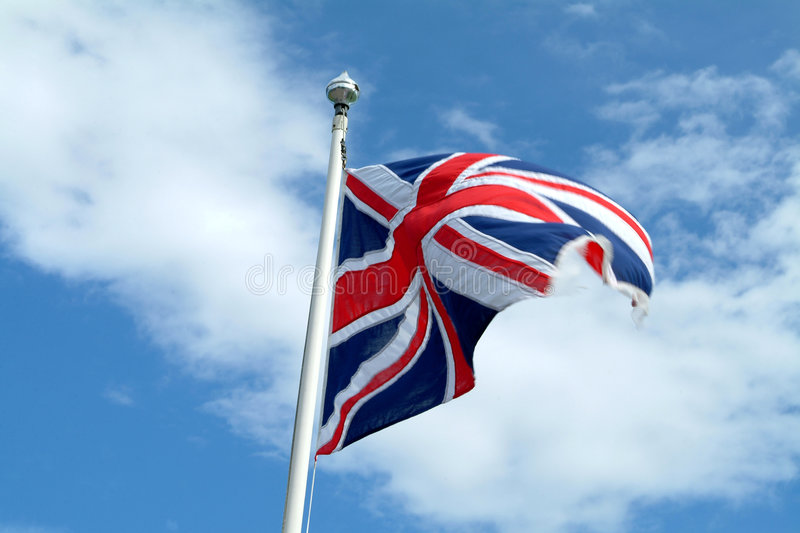 Union Jack dans le mouvement photos stock