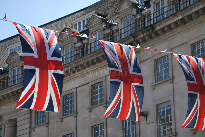 Union Jack flags royalty free stock photos