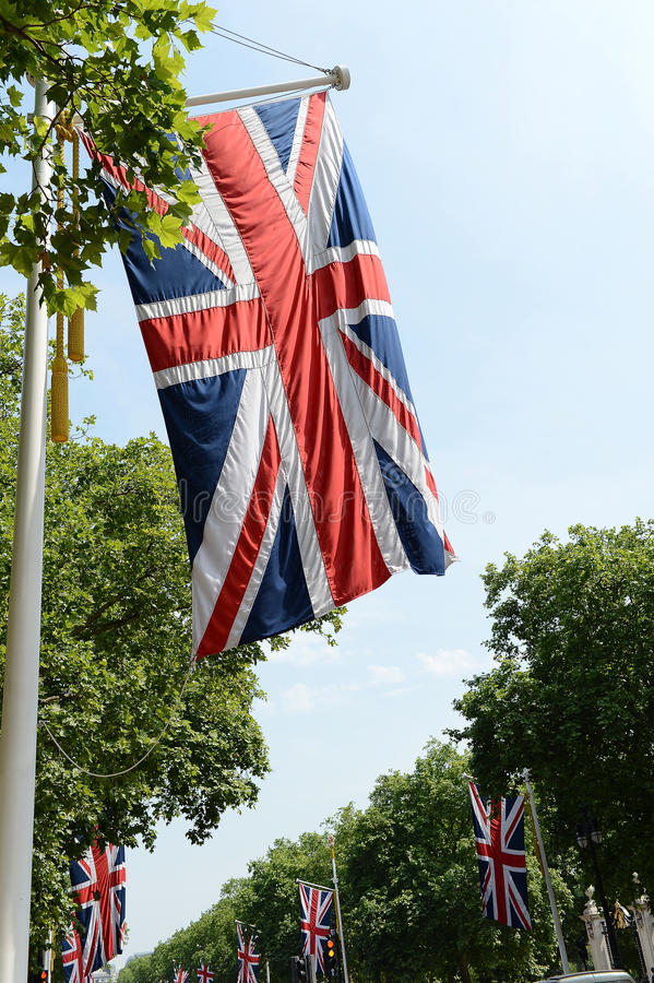 Download Union Jack flags on Mall stock photo. Image of jack, leafy - 32695478