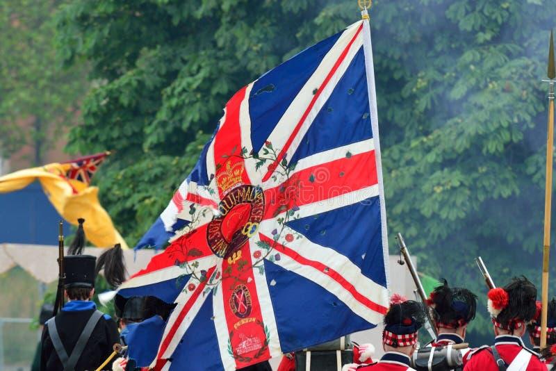 Union Jack mit Soldaten lizenzfreie stockfotos