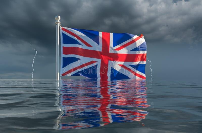 Union Jack o bandiera del sindacato che affonda sotto le onde con brexit duro fotografia stock libera da diritti