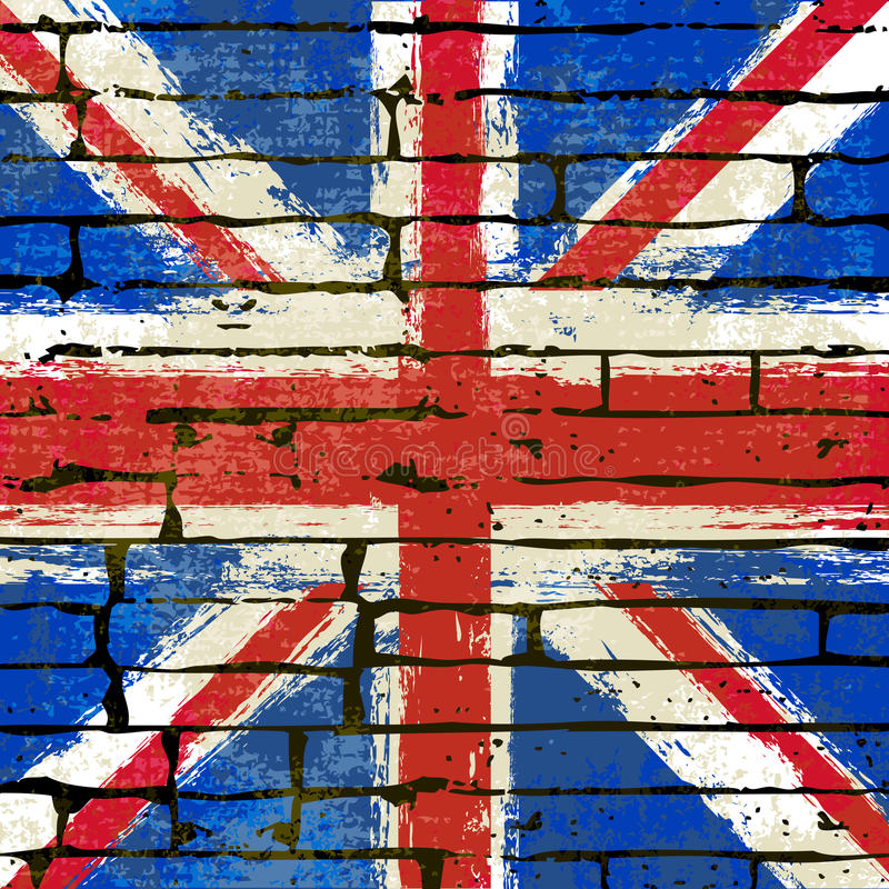 Union Jack op een Achtergrond van de Bakstenen muur royalty-vrije illustratie