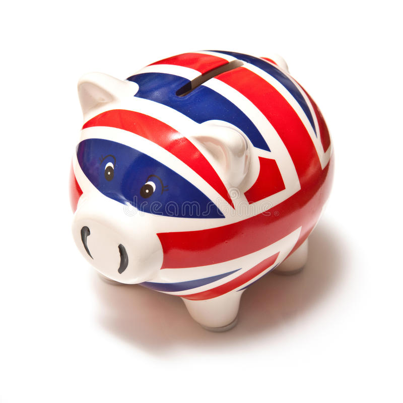 Union Jack piggy bank stock photo