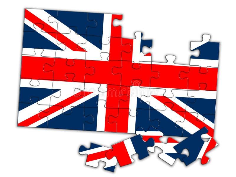 Union Jack-Puzzlespiel, Stücke nicht an Ort und Stelle BRITISCHE Flagge, die auseinander Konzept fällt lizenzfreie abbildung