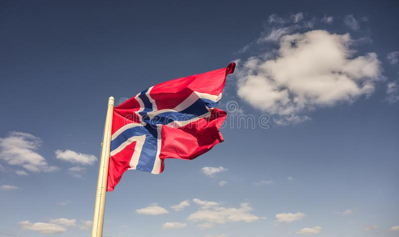 Realistic waving flag of Norway royalty free stock images
