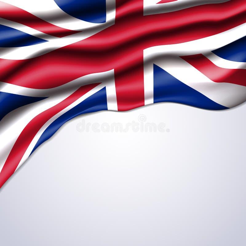 Union Jack-realistische vlag stock illustratie