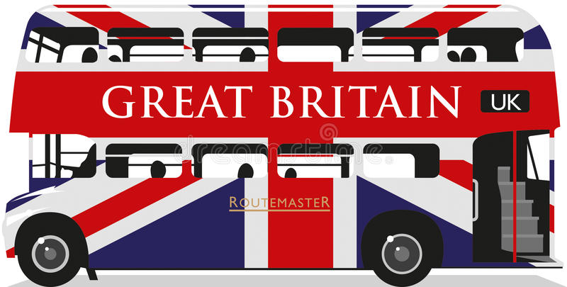 Union Jack Routemaster Bus. British Union Jack bus, metropolitan, rural and country double decker bus vector illustration