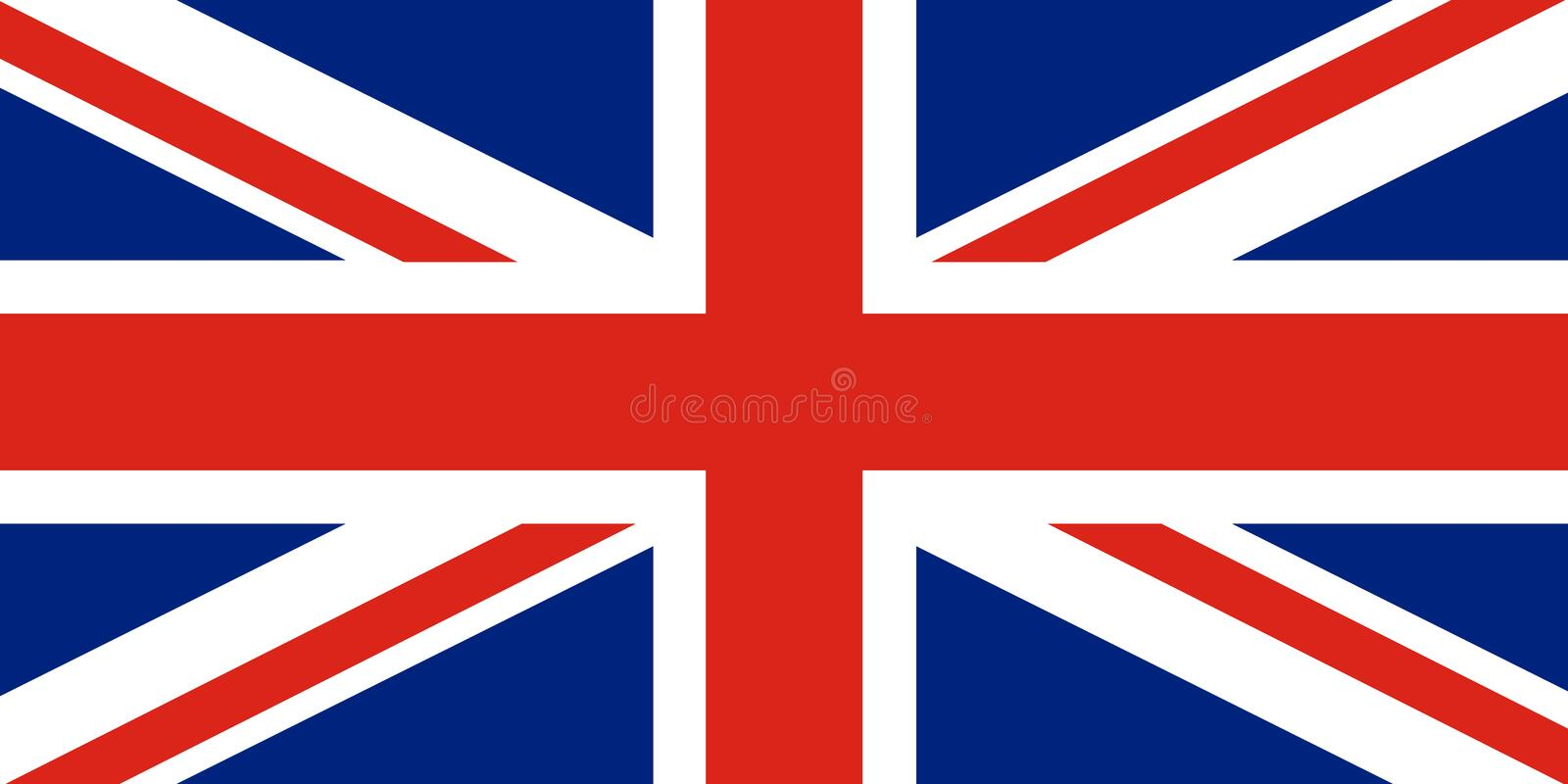 Union Jack. United Kingdom flag. Red cross on combined red and white saltires with white borders, over dark blue background. Flag of Great Britain. Flag of stock illustration