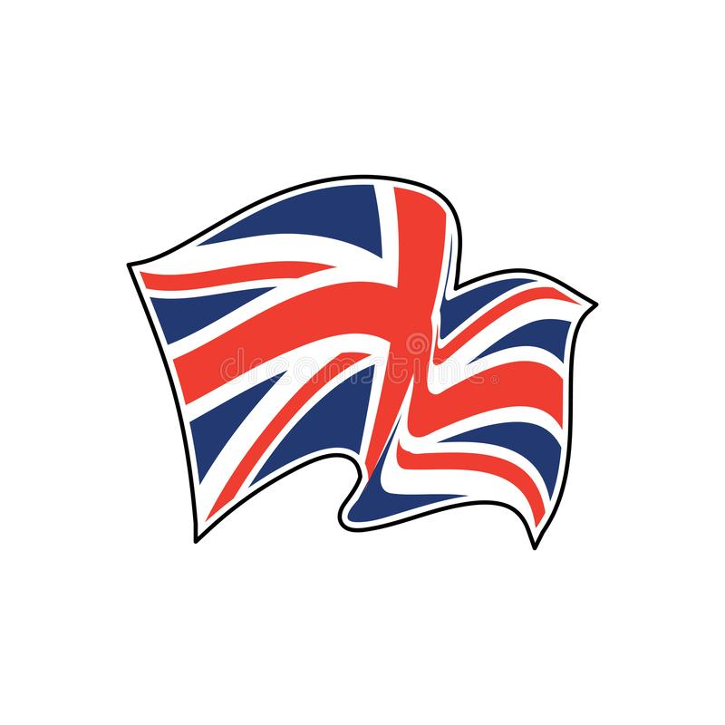 Union Jack. United Kingdom flag. Red cross on combined red and white saltires with white borders, over dark blue background. Flag of Great Britain. Flag of royalty free illustration