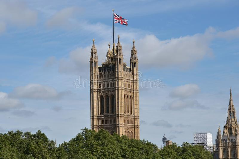 Union Jack Victoria Tower Palace Westminster photos stock