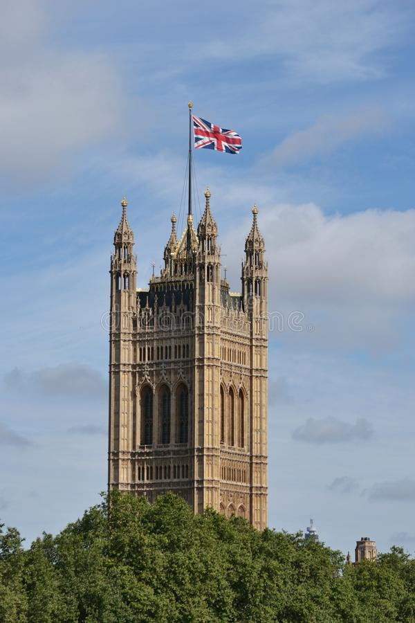Union Jack Victoria Tower Palace Westminster image stock