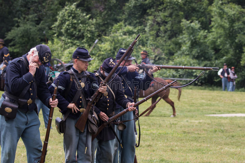 Union Lines. Civil War era soldiers in battle at the Dog Island reenactment in Red Bluff, California stock photo