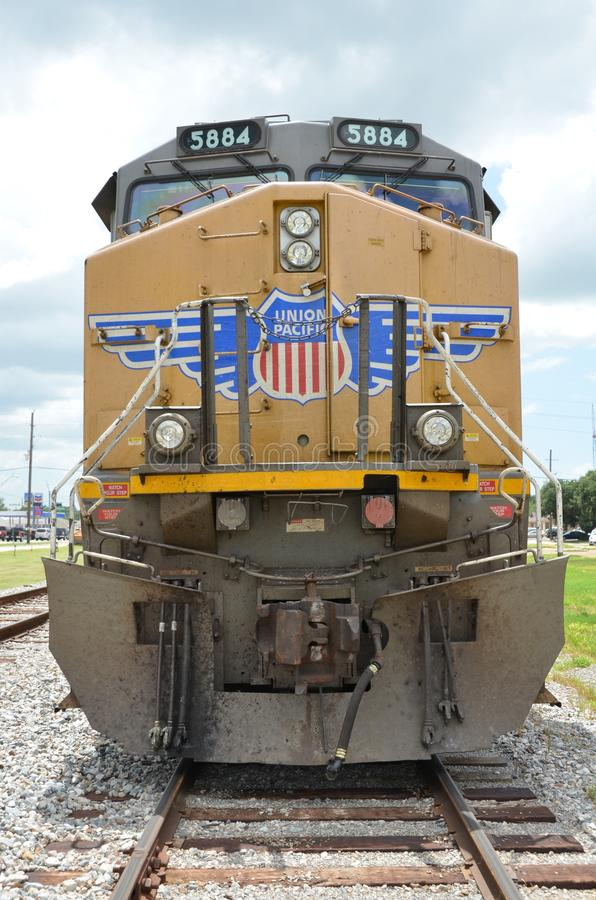Union Pacific Train on Railroad Tracks stock images
