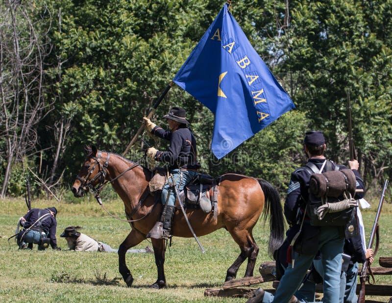 Union segrar flaggan arkivbild
