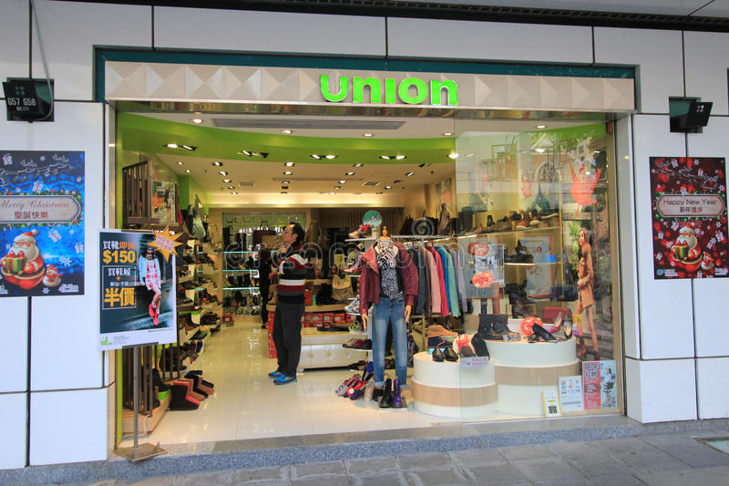 Union shop in hong kveekoong. Union shop, located in Tsim Sha Tsui, Hong Kong. union is a shoes retailer in Hong Kong stock images