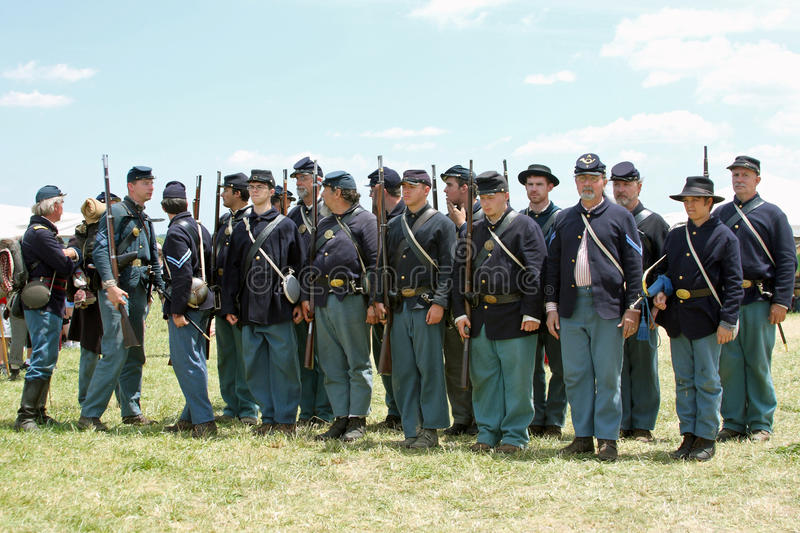 Union Soldiers Ready. Annual Gettysburg Civil War Battle Reenactment held July 3, 4, & 5th, 2009 - 146th Anniversary stock photography