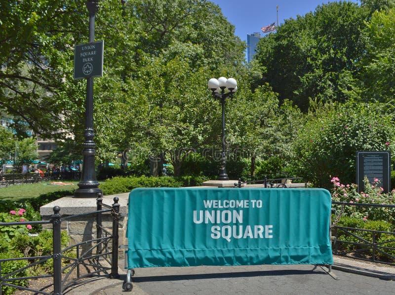 Union Square -de Stad van het Toerismenew york van het Parkteken het Winkelen Reistoerisme stock afbeeldingen
