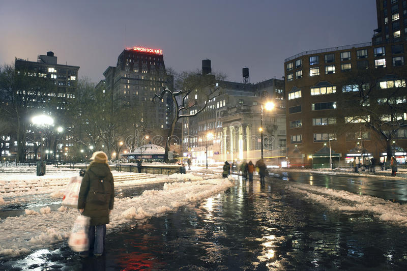 Union Square New York City in winter stock photo