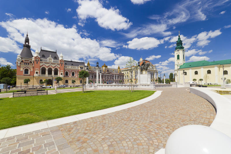 Union square Piata Unirii Oradea, Romania. Cityscape with beautiful clouds royalty free stock photo