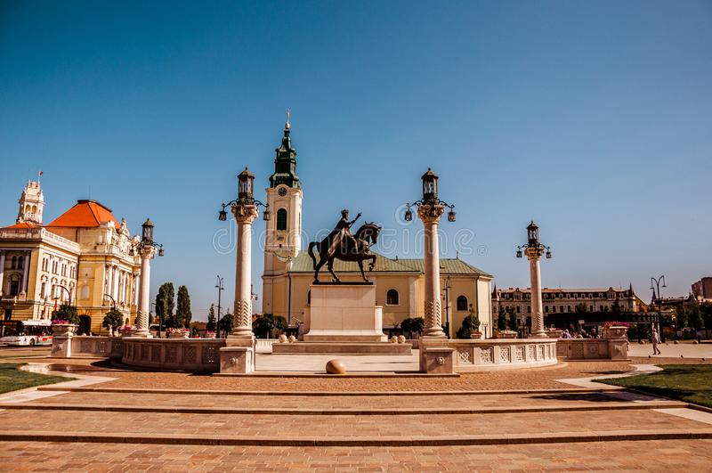 Union square Piata Unirii seen sunny summer day in Oradea, Rom. Ania Bihor county royalty free stock photos