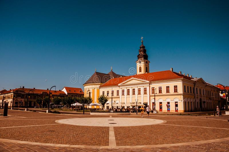 Union square Piata Unirii seen sunny summer day in Oradea, Rom. Ania Bihor county royalty free stock photo