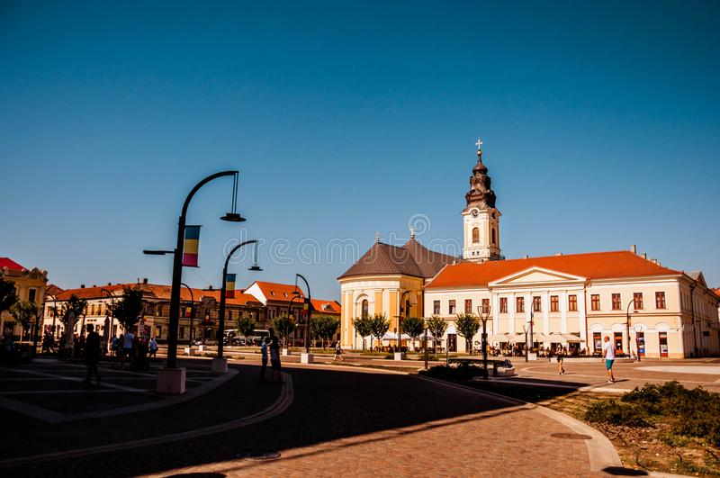 Union square Piata Unirii seen sunny summer day in Oradea, Rom. Ania Bihor county stock photo