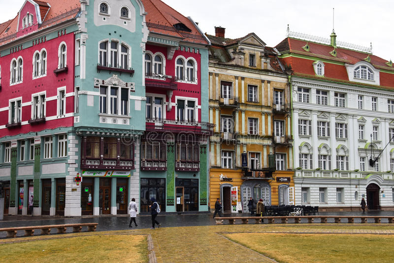 Union Square Piata Unirii. Timisoara, Romania. February 06, 2017. Colorful buildings at Union Square Piata Unirii stock photo