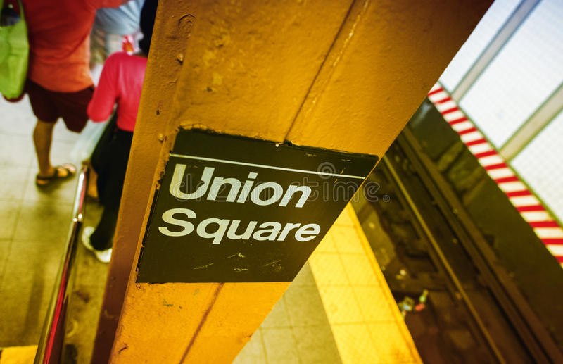 Union Square sign in New York subway station royalty free stock photo