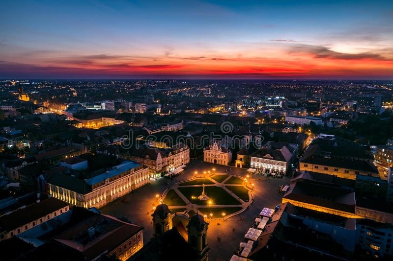 Union Square Timisoara - aerial view royalty free stock photography