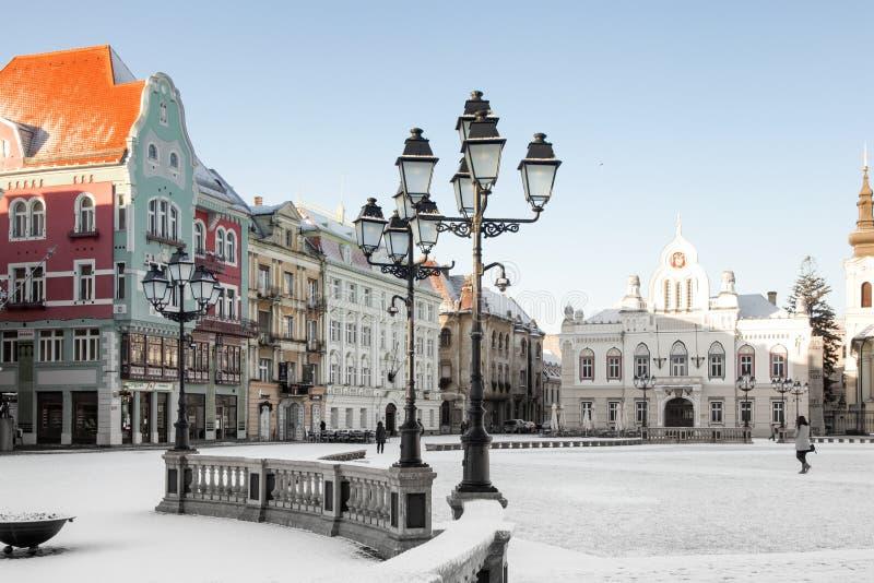 Union square in Timisoara. Historic buildings at union square, Timisoara, Romania royalty free stock image