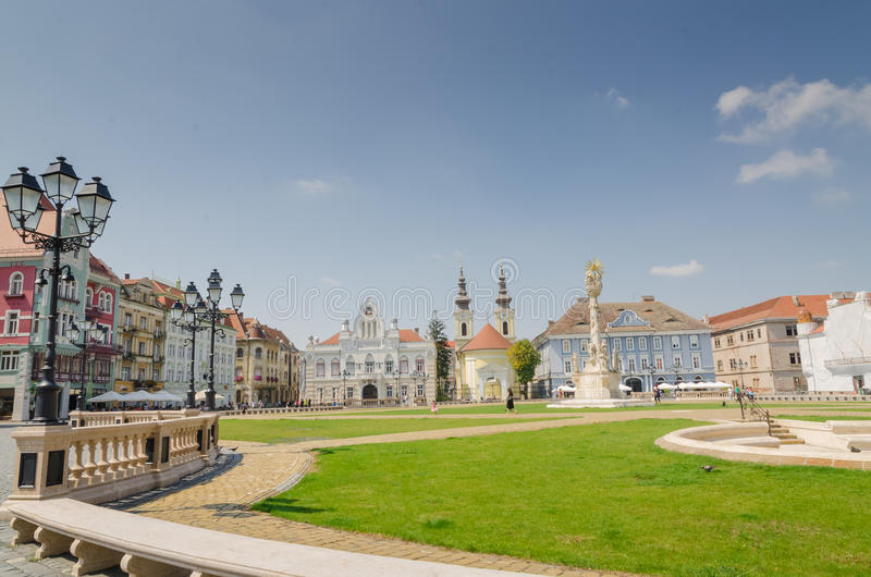 Union Square Timisoara. Union Square is the oldest square in Timisoara, decorated in baroque style royalty free stock image