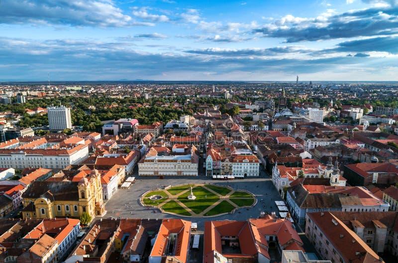 Union Square Timisoara under beautiful blue cloudy sky royalty free stock photos