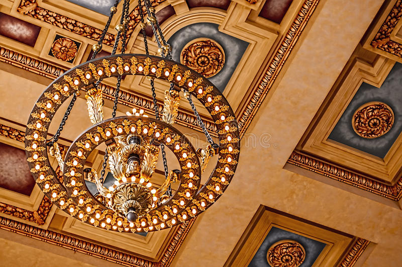 Union Station chandelier and ceiling stock images