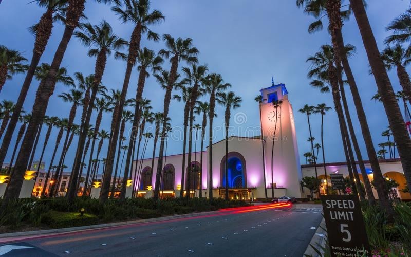 Union Station, Downtown Los Angeles, California, United States of America. Union Station at dusk, Downtown Los Angeles, California, United States of America stock photo